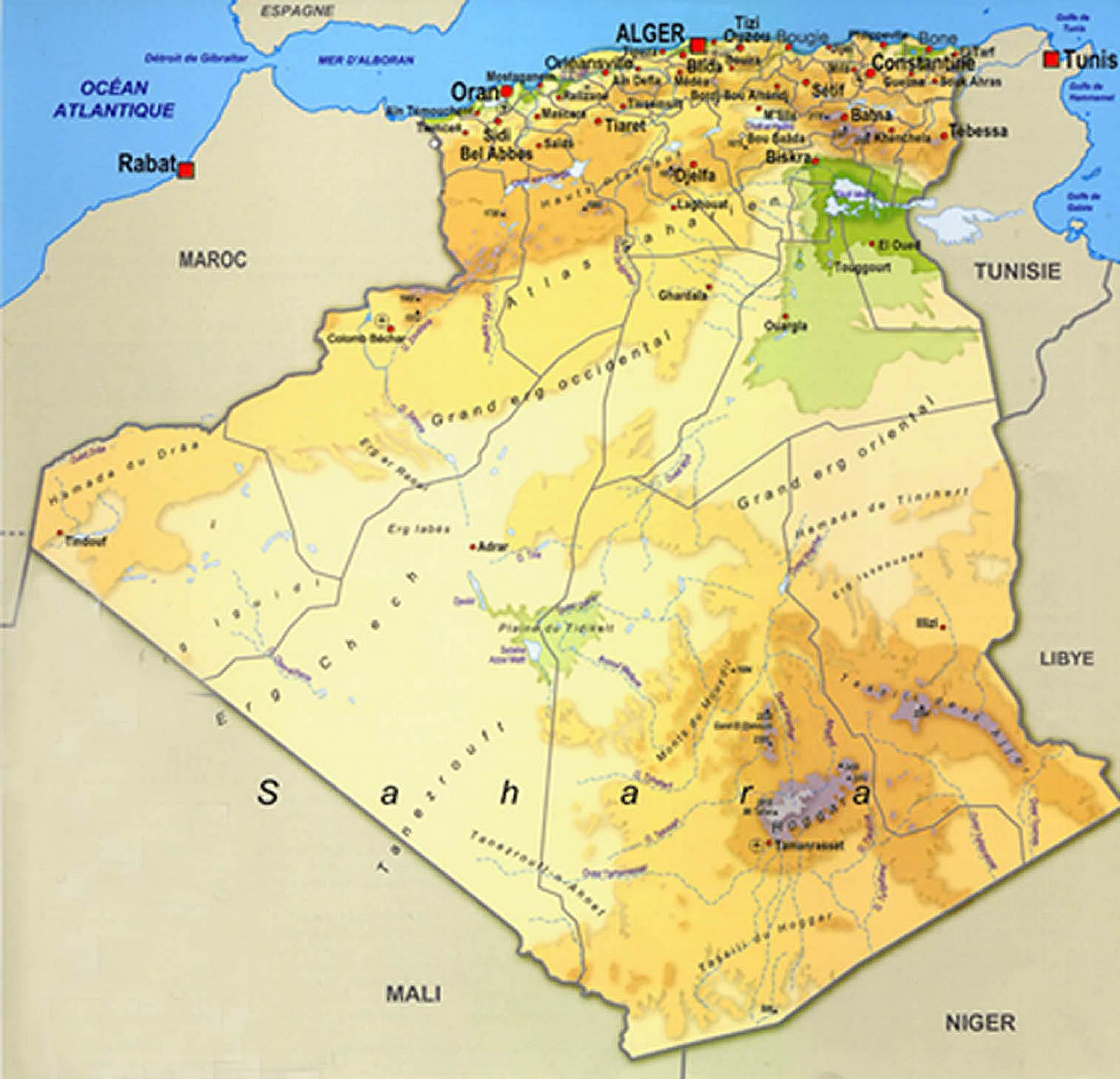carte de l algerie detaillé grand format Cartes Algérie, plans et maps des villes Algériennes, itinéraires