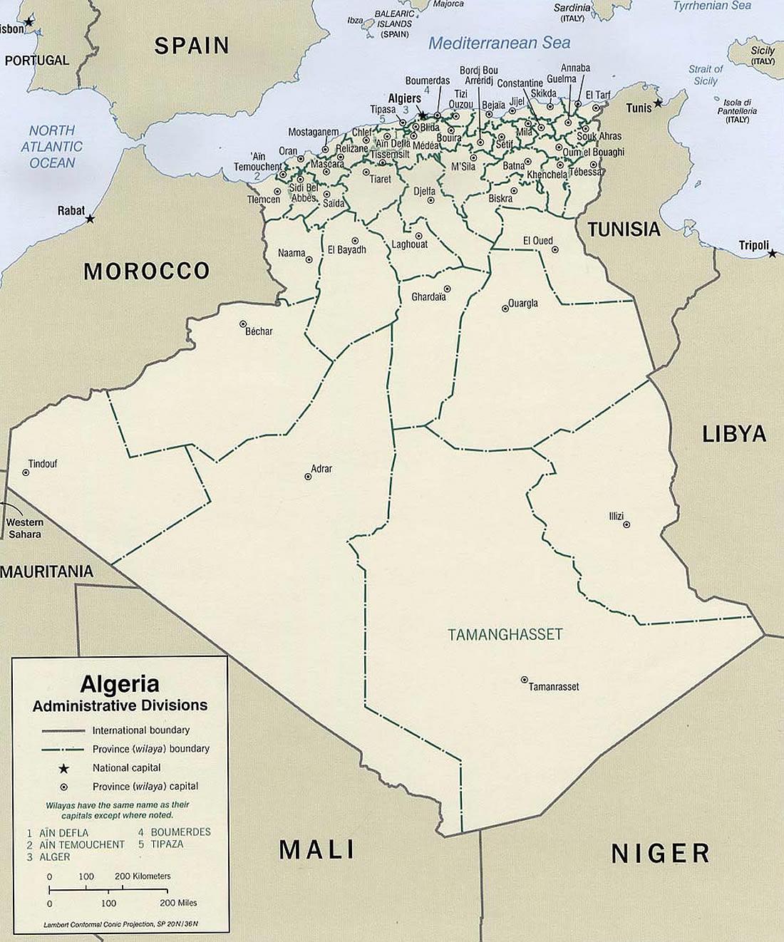 Carte Algerie En Arabe.Carte Algerie Administrative Carte Algerie