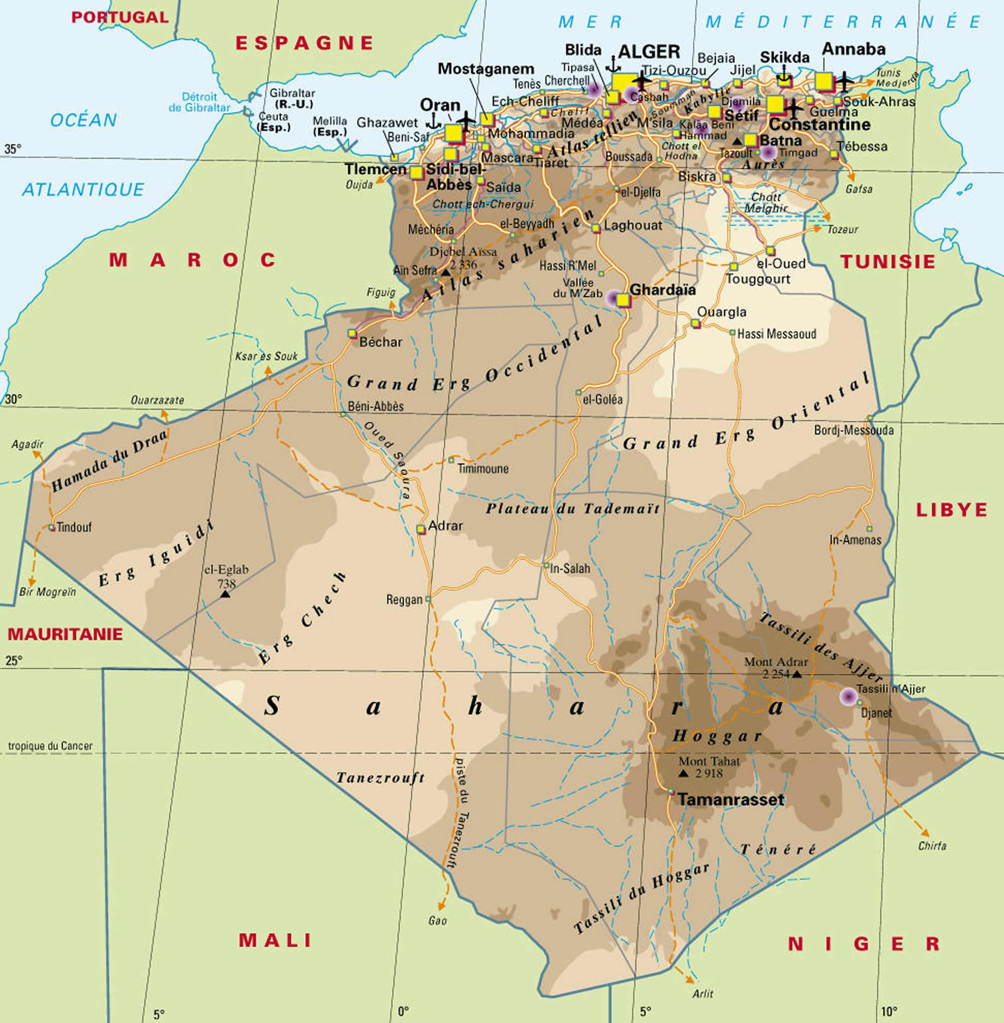 Carte Algerie En Arabe.Carte Algerie Carte Algerie