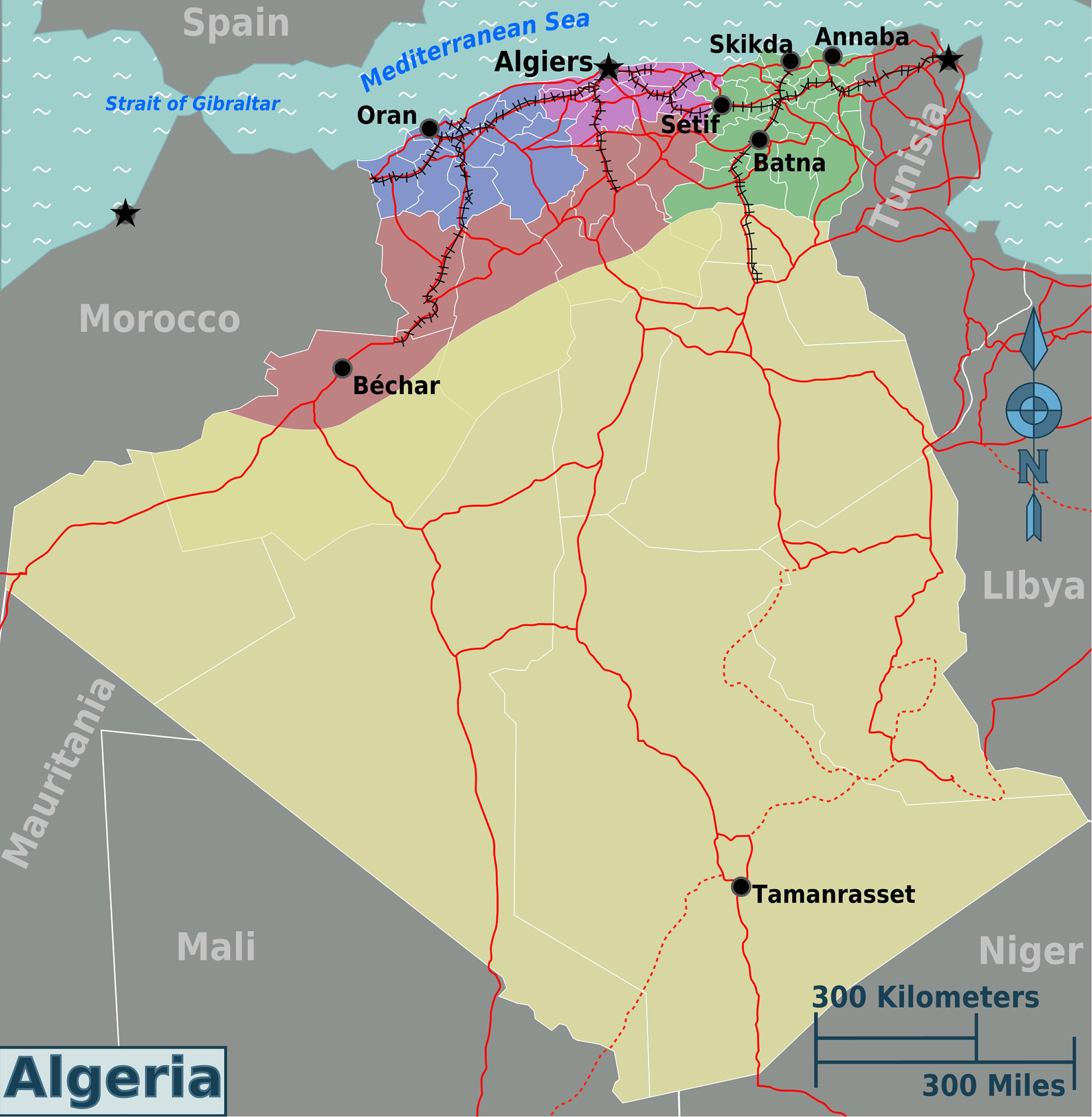 Carte Geographique De Lalgerie.Carte Region Algerie Carte Algerie