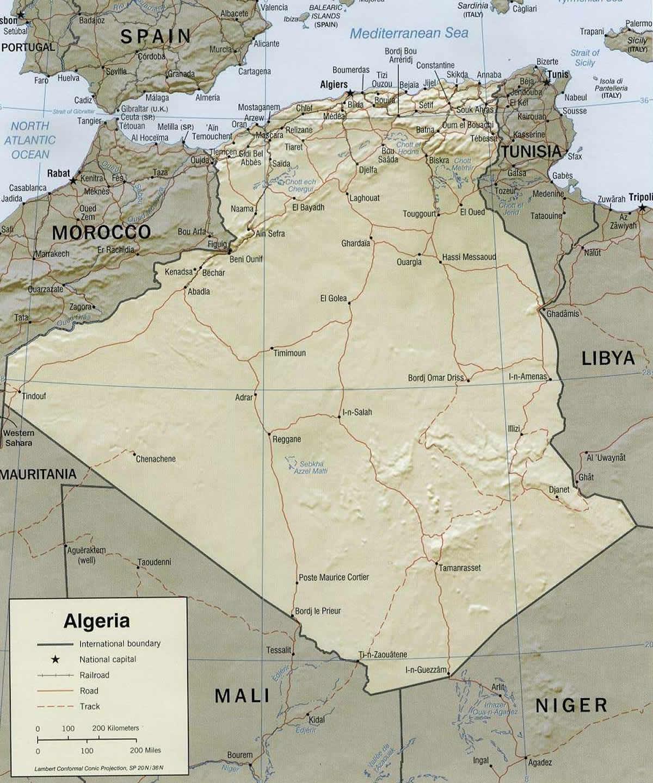 Carte Algerie El Bayadh.Carte Relief Algerie Carte Algerie