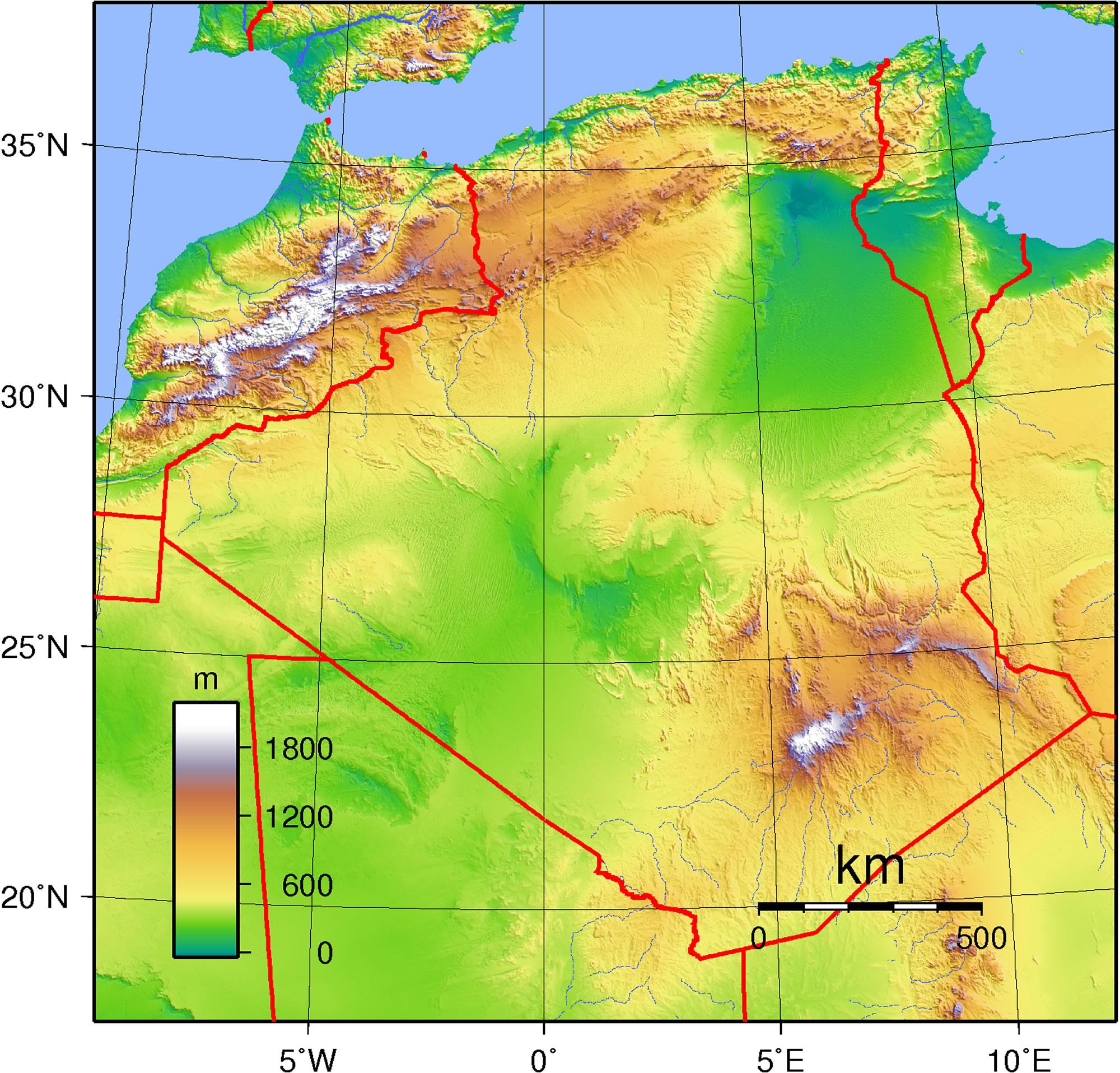 Carte Topographique Algerie Carte Algerie
